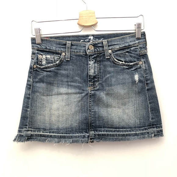 e4a24a2610 7 For All Mankind Skirts | Denim Frayed Hem Mini Skirt Euc | Poshmark